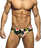 MIZOK Men's Floral Swimsuits Bikni Briefs with Adjustable Drawstring (M, FlowerBlack)