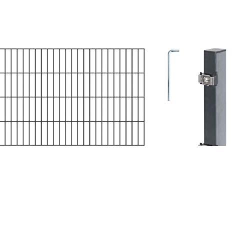 GAH-Alberts 642587 Doppelstabmattenzaun als  12 tlg. Zaun-Komplettset | verschiedene Längen und Höhen - wahlweise in verschiedenen Farben | kunststoffbeschichtet, anthrazit | Höhe 80 cm | Länge 10 m