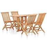 Benkeg Set Muebles de Comedor de Jardín Plegable 5 Pzas Madera de Acacia, Juego de Muebles de Patio para Jardín, Terraza o Patio, Conjunto de Jardin Madera Ratán