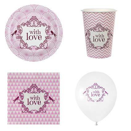 Like a Girl-wir lieben Hochzeiten® Party-Set Love, 61 Teile Dekoset Hochzeit Polterabend Set...