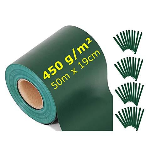 workingHOUSE Sichtschutzstreifen für Doppelstabmatten, Extra lang 50 Meter x 19 cm mit 40 Clips Klemmstreifen, (Grün)