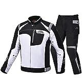 Chaqueta de Motocicleta a Prueba de Agua Hombre Chaqueta de Moto Armadura Corporal Racing Motorbike Jacket Moto Ropa Protección Gray Set XL