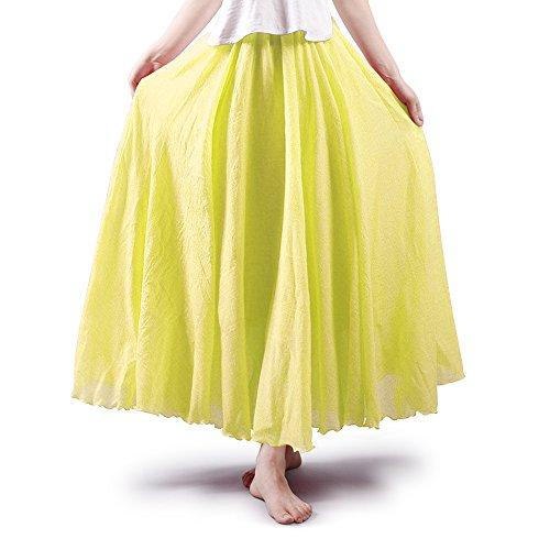 OCHENTA Mujeres Estilo Bohemia Cintura Elástico Algodón Larga Lino Faldas Light Yellow 85