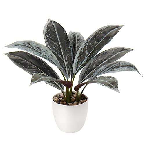 Briful Künstliche Calathea Zimmerpflanze Kunstpflanze Buschig mit 8 gefärbten Blättern im Kunststofftopf, Höhe 33cm, Grün-Rot