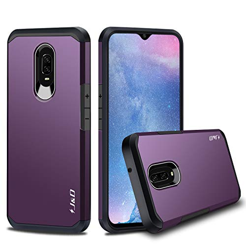 J&D Case Compatible for OnePlus 6T Case, Heavy Duty [Dual Layer] Hybrid Shock Proof Protective Rugged Bumper Case for OnePlus 6T Case - Purple