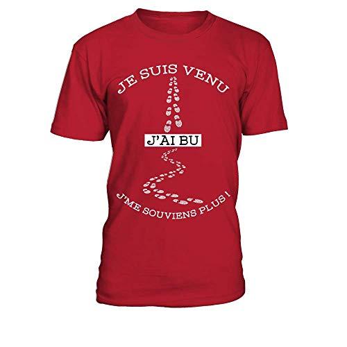 T-Shirt Homme Je suis Venu, J'Ai bu, j'me Souviens Plus - Rouge - L