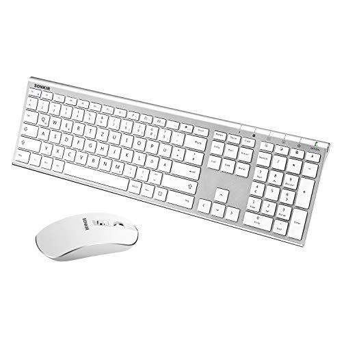 Sonkir K-18 Tastatur Maus Set Kabellos, Wiederaufladbare Ultradünne Aluminium Tastatur Kombination mit Coverfilm, Leiser Flüster Maus, 2.4 GHz Wireless Verbindung- Deutsches QWERTZ Layout (Silber)