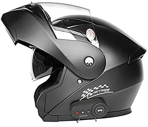 Caschi Bluetooth Per Moto, Casco Integrale Per Motocicletta Con Interfono Bluetooth, Casco Modulare Con Doppia Visiera, Standard DOT ECE Per Uomo Donna 2, L=(59~60CM)