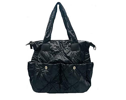 Sondra Roberts Quilted Nylon Tote Bag, Black