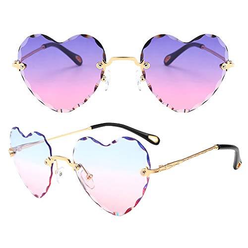 SM SunniMix 2pcs Gafas de Sol Sin Montura en Forma de Corazón Gafas Clásicas de Lentes de Gradiente de Fiesta