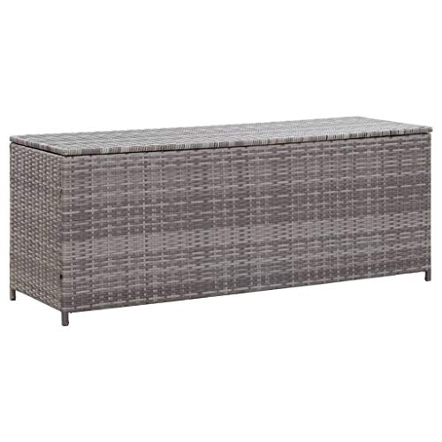 vidaXL Garden Storage Box Weather and Water Resistant Patio Outdoor Storage Chest Bench Store Blanket Cushion Pillow Toy Grey 150x50x60cm Poly Rattan