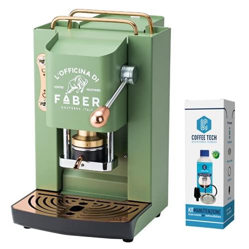 Macchina Caffe Faber PRO Deluxe Rifiniture in Ottone a Cialde in Carta Ese 44mm Omaggio 20 CIALDE Emozioni (Verde)