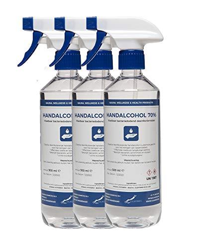 Hand Alcohol Desinfectie Spray 70% Gedenatureerd met IPA, MEK en Bitrex – 3x 500 ml met spraykop