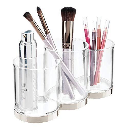 mDesign Práctico organizador de cosméticos – Sistema de organización decorativo para pinceles de maquillaje y rímel – Bote de plástico con 3 apartados para guardar maquillaje – transparente y plateado