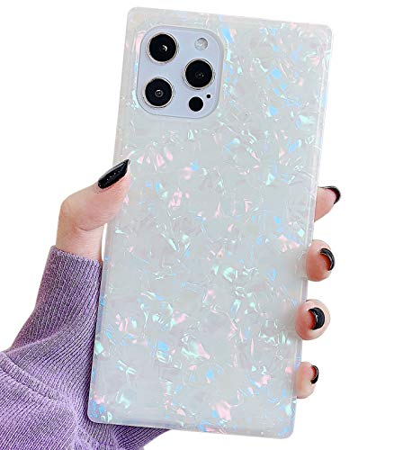 Qokey Compatible with iPhone 12 Pro Max Case 6.7 inch 2020 Square Case Sparkle Bling Slim Cute Case Soft Silicone Crystal Shockproof Cover for Women Girls Bumper Shell Pattern Colorful