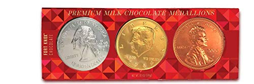 Fort Knox Premium Milk Chocolate Gold, Silver and Copper Medallions, 3 Mega 4-Inch Coins