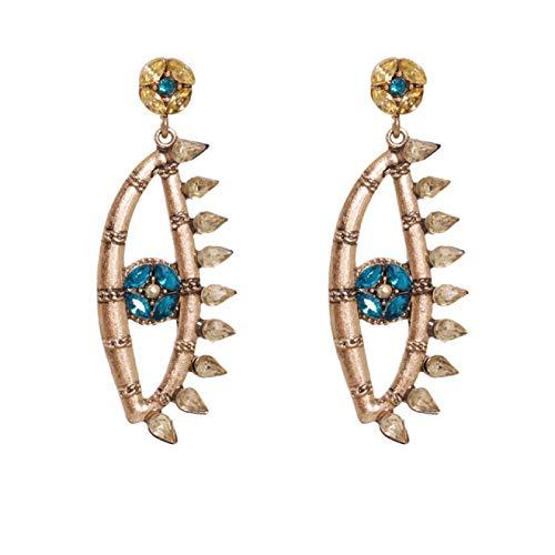 N/A Ethnische Liebe Herzförmige böse Augentropfen Ohrringe Weibliche Retro Kristall Anhänger Ohrringe Geschenk 54340