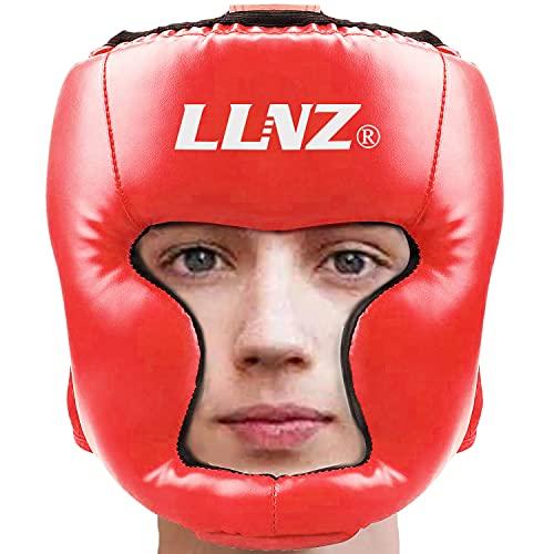 Luniquz Boxhelm Für Boxkopfschutz - Leder Kopfschutz Gesichtsschutz mit Perfekter Sicht Bewachen Wangen für Kampfsport,Boxen,Kickboxen,Sparring,Taekwondo, Rot/S