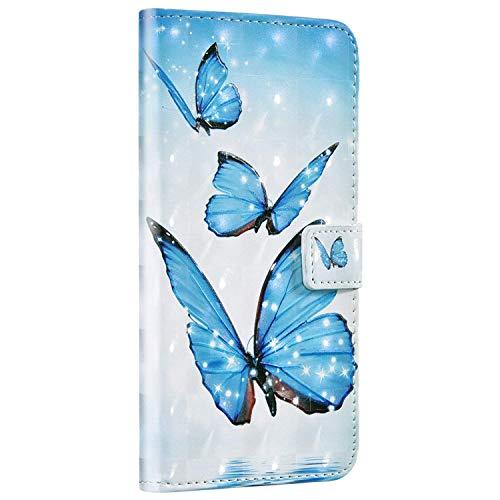 Compatible avec Samsung Galaxy S10 Coque Housse en Cuir Portefeuille Étui Housse Brillante Glitter Coloré Motif Flip Case Magnétique avec Fonction Support Porte-Cartes,Papillon