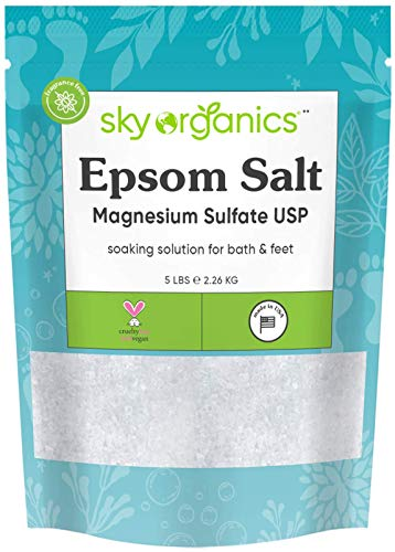 Epsom Salt by Sky Organics (5 lbs.) - 100% Pure Magnesium Sulfate USP Grade Kosher Non-GMO – Bath and Foot Soak Soothing Body Soak. Made in USA