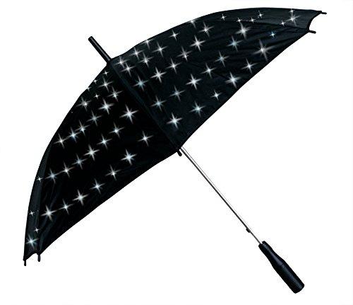 Unbekannt Gute Laune LED Regenschirm - Sternenlichtschirm weiß Leuchtend, Leucht Schirm als Geschenkidee zu Weihnachten, Sternenschirm, Flirtschirm, Liebesschirm, Romantikidee