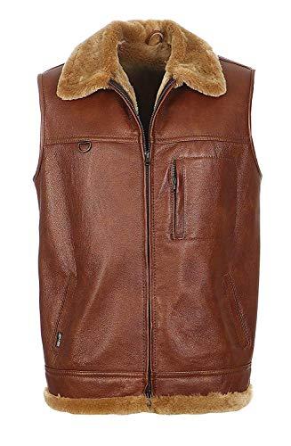 Hollert German Leather Fashion Lammfellweste - FIRMINIUS mit Kragen Herren Weste aus hochwertigem Merino Lammfell und Echtleder Größe XL, Farbe kastanienbraun