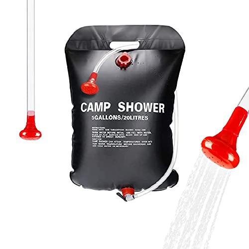BOYO Doccia solare da campeggio, 20 l, portatile da campeggio per bambini, doccia da giardino, borsa portatile per acqua solare, adatta per viaggi, campeggio all'aperto e altre docce all'aperto.