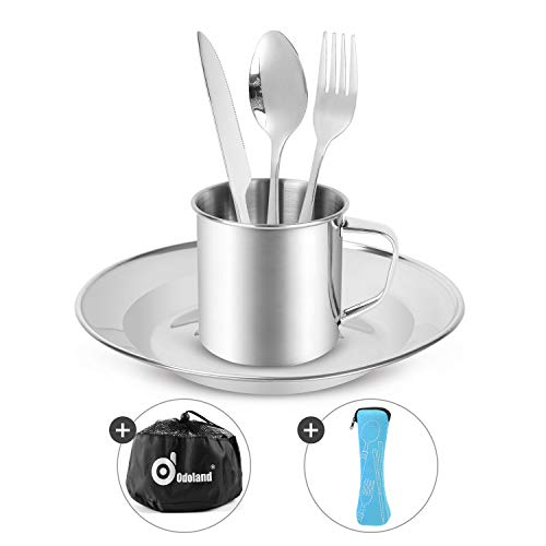 Odoland Camping Cutlery Set - Stainless Steel Tableware Mess Kit Includes Plate Cup Fork Spoon Knife, 7 in 1 Flatware Kit with Mesh Bag - Dinnerware Utensils Set for Outdoor Camping Hiking and Picnic