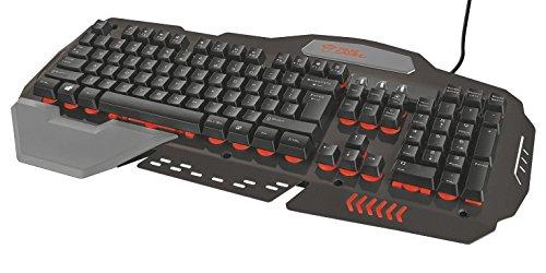 Trust GXT 850 USB QWERTY Spanisch Schwarz Tastaturen Verkabelt USB Membran Schlusselschalter QWERTY LED Schwarz