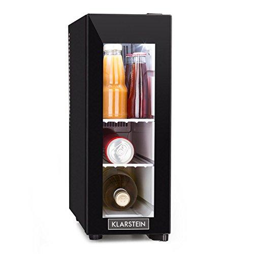 Klarstein Frosty 13L Kühlschrank mit Glastür - Mini-Kühlschrank, Mini-Bar, 13 Liter, 3 Regaleinschübe, 120 Watt, niedriges Betriebsgeräusch, Temperaturbereich: 8° - 18°C, schwarz