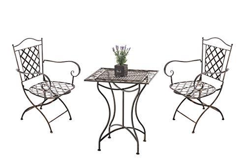 Ensemble de Jardin Payo en Fer Forgé -Table de Jardin Carrée 60x60 cm 2 Chaises en Fer avec Accoudoirs 2 Places, Couleurs:Marron Clair