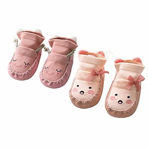 Calzini Antiscivolo Bambino Ciabatte Gommati Bambini Cotone estivi pantofole Calzino per Pavimento da 2 paia 0-6 Mesi a 1-2 Anni(Rosa e Pink,12-18 mesi)
