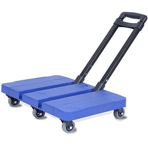Handwagen Trolley Black Folding Travel Car Tragbare Trolley Travel Mit Flachbett-Startseite Warenkorb Pull Cargo Trailer (Color : B, Size : 47 * 33 * 16cm)