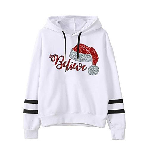 CHMORA Decoración de Navidad, Belive Ms. Navidad Sombrero Impreso de Manga Larga Sudadera Sudadera con Capucha Paralelo Bar Suéter Regalo para ella