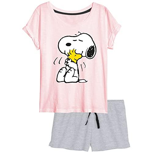 United Labels The Peanuts - Snoopy Damen Pyjama Schlafanzug Set Kurzarm Oberteil mit Hose Rosa/Grau Gr. M
