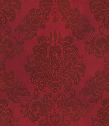 Birwall Burgundy Red Damasks Peel and Stick Wallpaper...