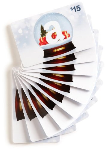 Amazon.com $15 Gift Cards, Pack of 10 (Holiday Globe Card Design)