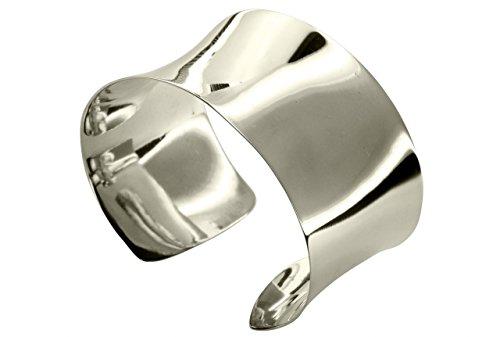 SILBERMOOS Exklusiver Damen Armreif Armspange offen extra breit XL konkav glänzend poliert massiv 925 Sterling Silber