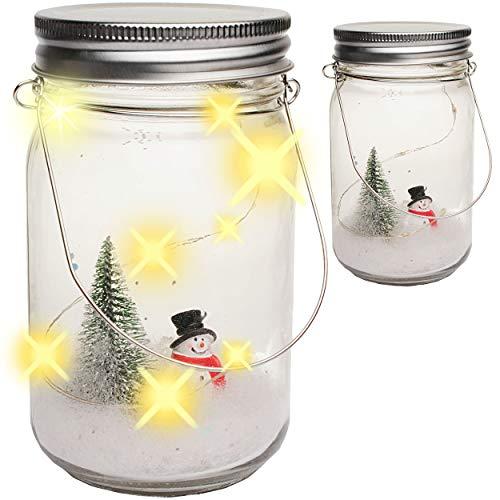 alles-meine.de GmbH 2 Stück _ LICHT Dekogläser - 5 Stück LED - Schneemann - mit Henkel - Weihnachten - Dekoflasche - Leuchte im Einmachglas - Flasche - Weihnachtsflaschen - Licht..