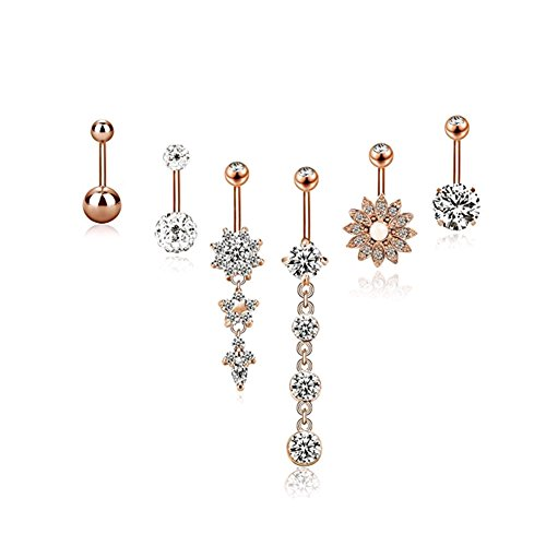 Jeans Dream - Piercing para el ombligo para mujer - Conjunto de joyas con circonitas, colgante largo y corto, anillo de moda, sexy, 6 unidades oro rosa