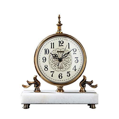 Reloj Reloj de Chimenea Reloj Antiguo Reloj Retro de Escritorio Reloj silencioso para Sentarse Reloj Digital Reloj Europeo de mármol Chapado en Cobre, Adecuado para la decoración de la Sala