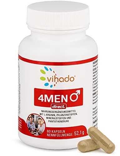 Vihado 4Men direct – normaler Testosteron-Spiegel & Fruchtbarkeit mit Zink – Nahrungsergänzungsmittel mit L-Arginin, Tribulus Terrestris und Potenz-Holz – für aktive Männer – 60 Kapseln
