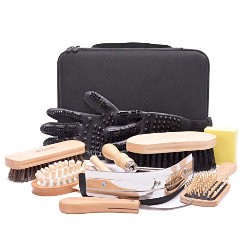 Horse Grooming Kit (10-Piece) with Tote,Horse Cleaning Tool Set with Assorted Hair and Curry Comb, Hoof Pick Sweat Scraper,Grooming Glove,Portable Black Storage Bag,Riding Equipment for Beginners
