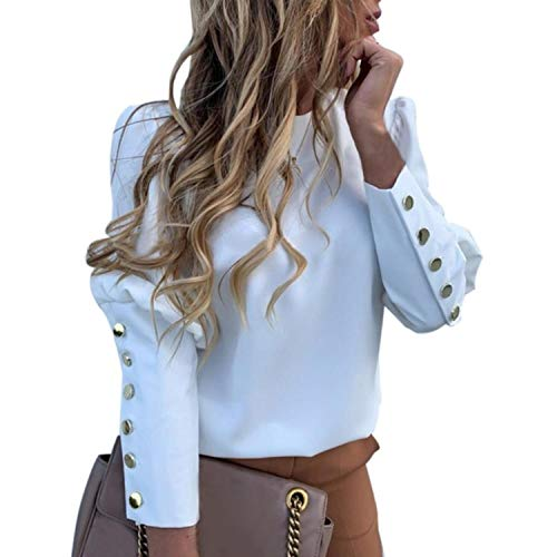 Puff Shoulder Blouse Shirts Office Lady Metal Buttoned Detail Blouses Women Pineapple Print Long Sleeve Top 2021
