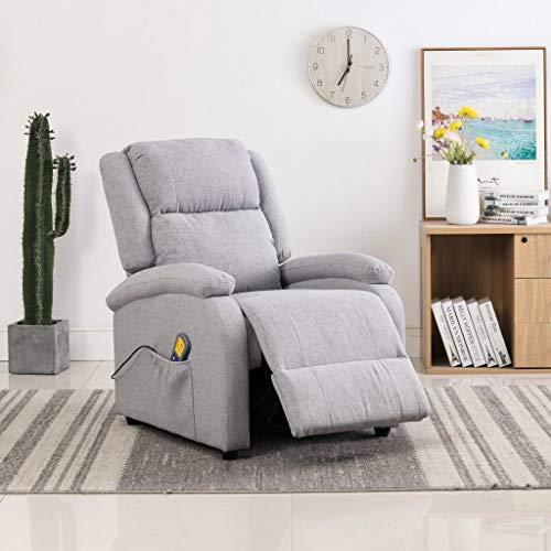 Tidyard Sillón Relax Masaje reclinable reposapiés eléctrico y reclinable para Oficina Salon Tela Gris Claro
