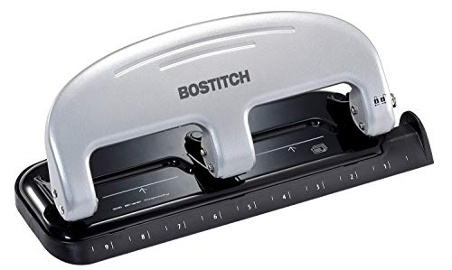 Bostitch inPRESS 20 Reduced Effort ThreeHole Punch Silver Black 2220