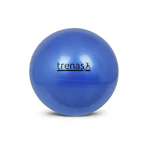 trenas Berstsicherer Gymnastikball - Sitzball - 55 cm - Blau - mit Pumpe