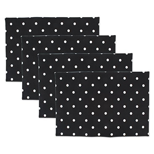 DII Z02029 Printed Reversible Polka Cotton Napkin, Perfect for Brunch, Catering Events, Dinner Parties, Buffets, Spring Weddings or Everyday Use, Placemat, Black Base White Dots 4 Count
