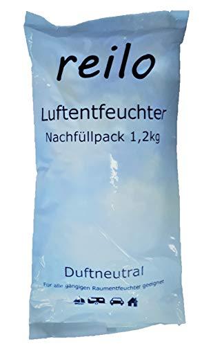 10x 1,2kg reilo Luftentfeuchter Granulat (Calciumchlorid) im Vliesbeutel, Nachfüllpack für Raumentfeuchter Boxen, einzeln verpackt in Polybeutel