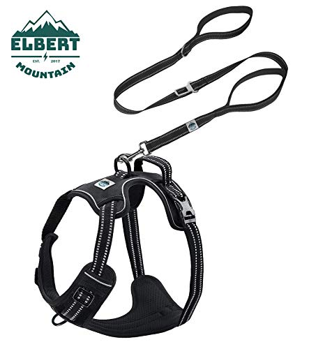 Elbert Mountain Dog Leash & Harness Combo - No Pull No Choke Adjustable Vest, Two Handle Dog Leash w Buckle - 3M Reflective, Car Safety, Easy Control for Walking Hiking (X-Large, Black)